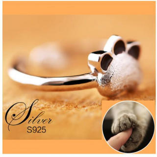 S925 シルバーリング フリーサイズ かわいい 指輪 猫 癒しグッズ ネコ (リング(指輪))
