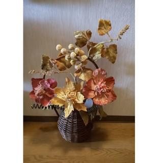 造花 フラワーアレンジ デコ カゴ 飾り(その他)