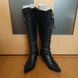 elegance卑弥呼 - elegance卑弥呼 黒 24.5cm 編み上げロングブーツ
