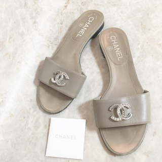 CHANEL - 正規品 シャネル サンダル レザー ココマーク シルバー ラインストーン 靴 革