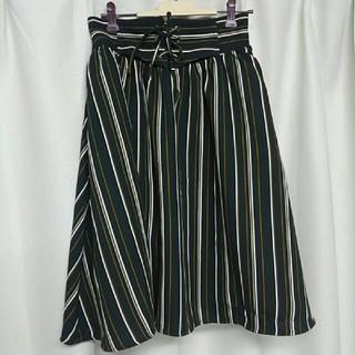 HONEYS - ウエスト編み上げ ストライプ 膝丈スカート