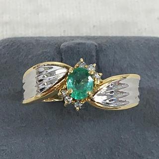 上質 エメラルド ダイヤモンド K18 ゴールド プラチナ リング 指輪(リング(指輪))
