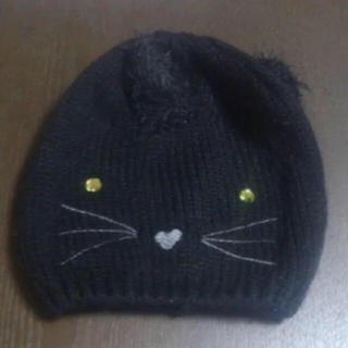 エイチアンドエム(H&M)の値下げ☆未使用【H&M】幼児用ニット帽子、キャップ、可愛いネコ 、猫、黒、防寒(帽子)