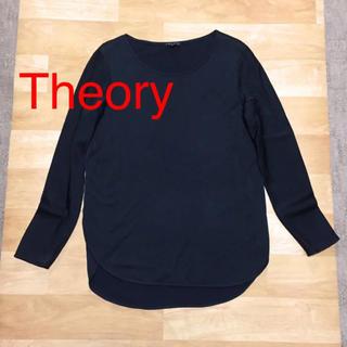 セオリー(theory)の♡Theory♡ ストレッチ ロングシャツ ブラック S(Tシャツ(長袖/七分))