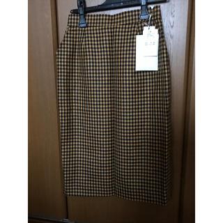 オレンジ チェック スカート(ひざ丈スカート)