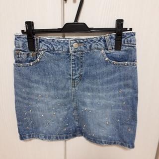 ワンウェイ(one*way)のワンウェイのラインストーン膝丈デニムスカート27インチ Mサイズ(ミニスカート)
