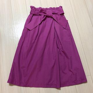 スカート  パープル  上品  リボン(ひざ丈スカート)