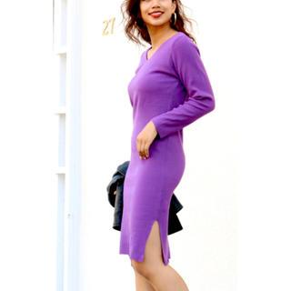 アナップラティーナ(ANAP Latina)のANAP LATINA ラティーナ サイドスリット リブニット 膝丈 ワンピース(ひざ丈ワンピース)
