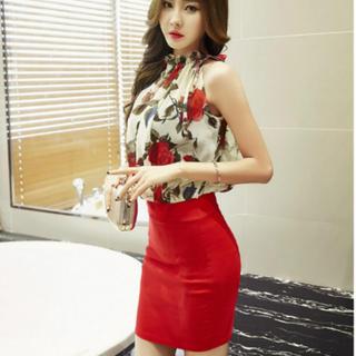 Lサイズ 赤 花柄 キャバドレス ドッキング  クリスマス ワンピース ドレス (ミニドレス)