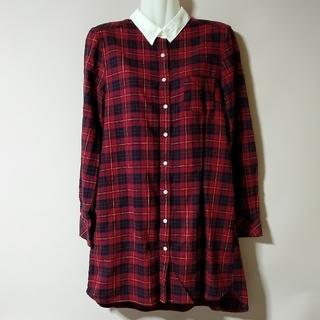 グローブ(grove)のgrove Lサイズ チェックシャツ ロングシャツ(シャツ/ブラウス(長袖/七分))