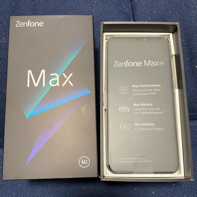 ASUS(エイスース)のほぼ新品 SIMフリースマホ ASUS zenfone max m2 シルバー スマホ/家電/カメラのスマートフォン/携帯電話(スマートフォン本体)の商品写真