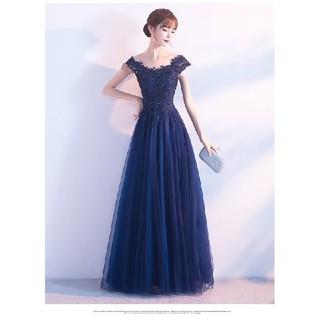 Mサイズ ブルー ロングドレス(ロングドレス)