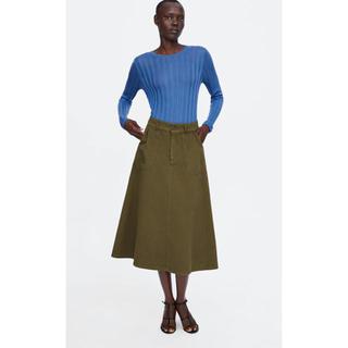 ザラ(ZARA)の新品未使用 ZARA フレア スカート  カーキ(ひざ丈スカート)