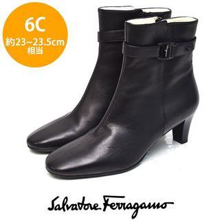サルヴァトーレフェラガモ(Salvatore Ferragamo)のほぼ新品❤️フェラガモ ロゴバックル ショートブーツ 6C(約23-23.5(ブーツ)