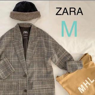 ザラ(ZARA)の新品!ZARA チェックコート グレー(ロングコート)