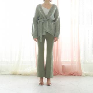 ロザリームーン(Rosary moon)の【新品】rosary moon  Rib Flare Pants グリーン(カジュアルパンツ)