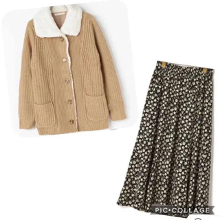 ダブルクローゼット(w closet)の【2点SET】ニットブルゾン 花柄スカート(セット/コーデ)