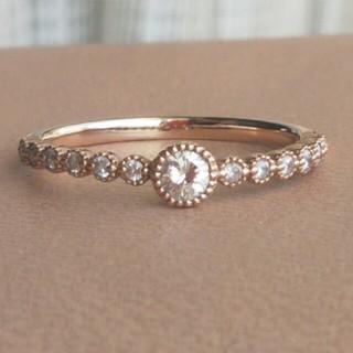 らんらん様専用☆K10ダイヤモンド0.27ct ミル打ち ハーフエタニティリング(リング(指輪))