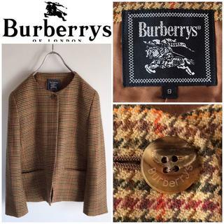 バーバリー(BURBERRY)の希少 オールドバーバリー カシミヤウールツイード ノーカラージャケット 9(テーラードジャケット)
