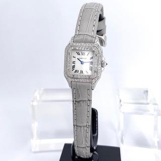 Cartier - 【仕上済】カルティエ パンテール SM シルバー ダイヤ レザーベルト 腕時計