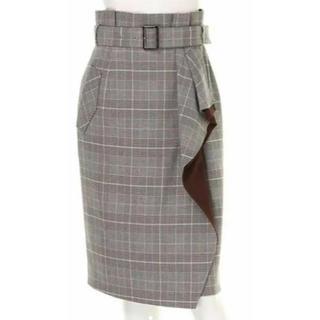 ジャスグリッティー(JUSGLITTY)のJUSGLITTY ベルト付ラッフルタイトスカート(ひざ丈スカート)