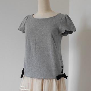 franche lippee - franche lippee サイド裾リボン 袖スカラップ トップス