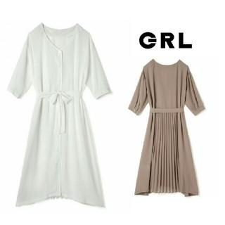 GRL - 新作新品  GRL  バックプリーツワンピース  ホワイト