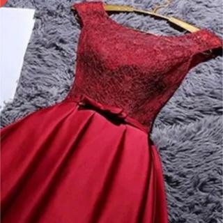 赤ドレス  ワンピース クリスマス パーティ  二次会 (ミディアムドレス)