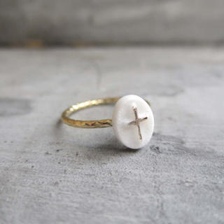 ヴィンテージクロスミルクガラスリング(リング(指輪))