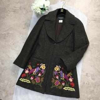 シャネル(CHANEL)の【美品】CHANEL シャネル 最高級 刺繍 ウール ココマーク  コート(ロングコート)