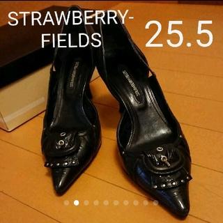 ストロベリーフィールズ(STRAWBERRY-FIELDS)の【ストロベリーフィールズ】パンプス 25.5 黒(ハイヒール/パンプス)
