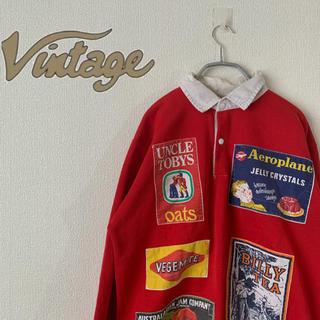 ヴィンテージ スウェット 90s  襟付き 刺繍デザイン 長袖 古着 商品広告(スウェット)