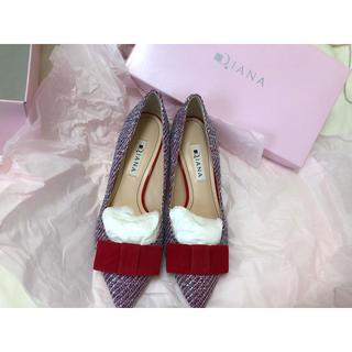 ダイアナ(DIANA)の【送料込★新品未使用】DIANA リボンツイードローファー(ローファー/革靴)