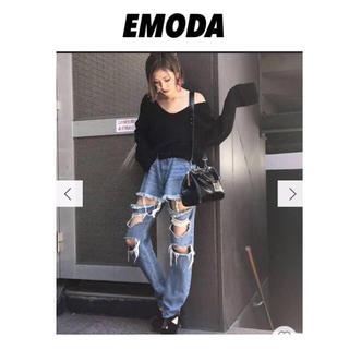 EMODA - EMODA アップクラッシュサイハイデニム ダメージジーンズ