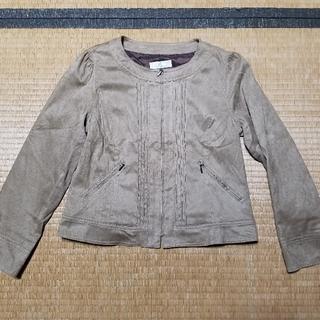 ノーカラージャケット 薄茶 スエード Anefleul ファスナー(ノーカラージャケット)
