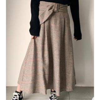 アンレリッシュ(UNRELISH)の今期 新品タグ付き アンレリッシュ サッシュベルト付チェックスカート(ロングスカート)