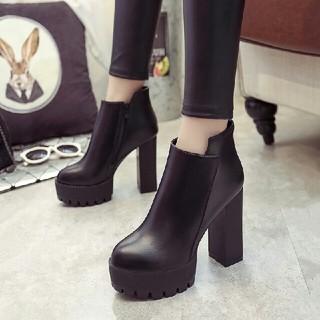 新品新作 韓国 美脚 ハイヒール 太ヒール ブーツ 革靴(ブーツ)