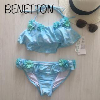 BENETTON - 新品 BENETTON 水着 フラワー フリル ビキニ BL M レディース