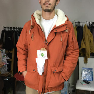 MENS 定価13800円 中ボアマウンテンパーカー オレンジ L(マウンテンパーカー)