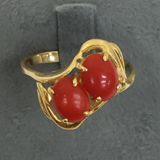 豪華 天然血赤珊瑚 K18 ゴールドリング 指輪 送料込み(リング(指輪))