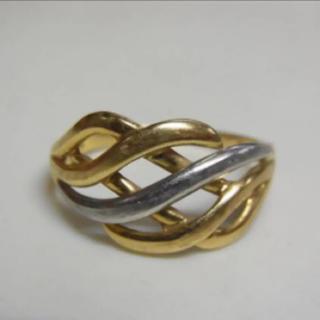 K18 ・ Pt800 刻印有 プラチナ ゴールドリング 3g/指輪 約17号(リング(指輪))
