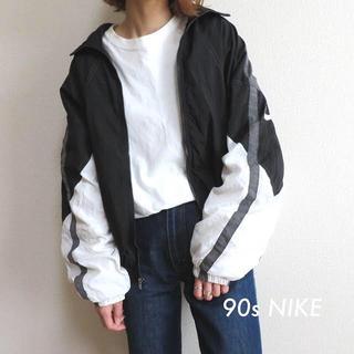 NIKE - 90s NIKE ナイキ スウォッシュ 刺繍 ナイロンジャケット 古着