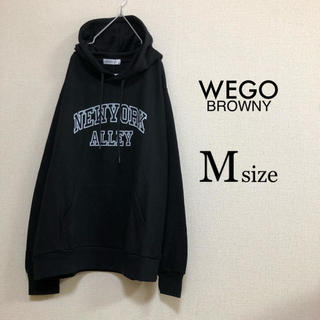 WEGO - Mサイズ WEGO BROWNY⭐️新品⭐️カレッジロゴプルパーカー黒