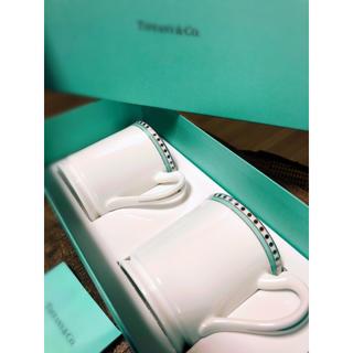 Tiffany & Co. - 【新品★Xmasプレゼントに♪】ティファニー プラチナブルーバンド ペアカップ