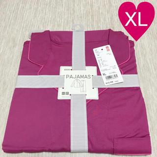 UNIQLO - ユニクロ ソフトストレッチパジャマ 無地 ピンク XL