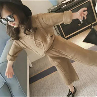 最入荷キッズ ニットセットアップ  ワイドパンツ 韓国子供服(ニット)
