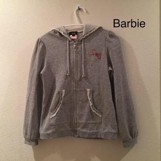 バービー(Barbie)のBarbie ★ 長袖ジップパーカー 130 140 150 ラメ ライトグレー(その他)