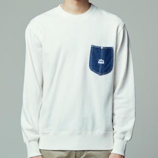 リー(Lee)のLeeデニムポケット付きクルーネックトレーナーSサイズ メンズ(スウェット)