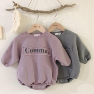 くすみカラー♡裏起毛トレーナーロゴロンパース80 90韓国ベビー服 韓国子供服(ロンパース)