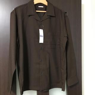GU - GU ジーユー オープンカラーシャツ ブラウン Mサイズ